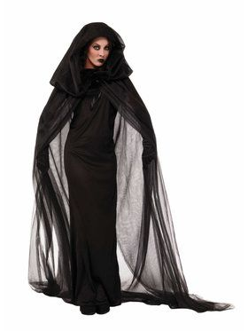 Black Haunted Cape and Dress Adult Costume