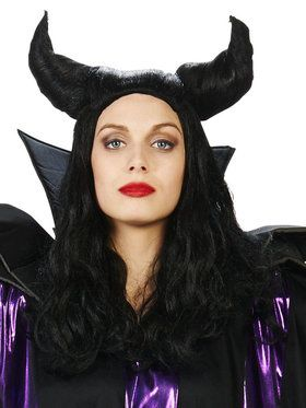 Black Horned Magnificent Witch Adult Wig for Halloween