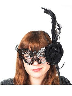 Black Laser Cut Stick Mask with Feather