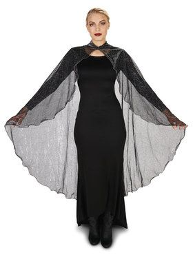 Black Mesh Spider Web Cape with Hood For Adults