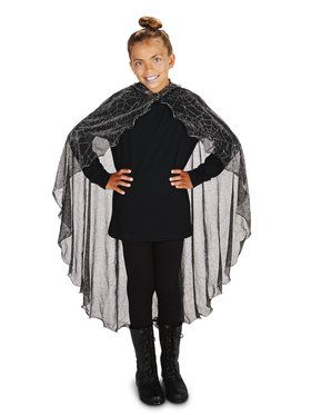 Black Mesh Spider Web with Hood Cape with Hood For Children