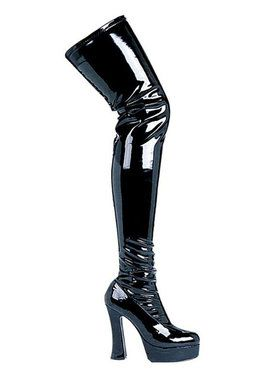 Black Patent Thigh High Boots