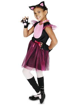 Black Pink Cat Costume For Children