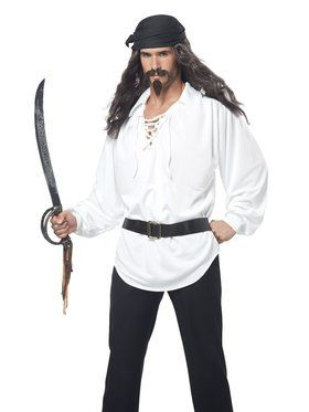 Black Pirate Wig with Moustache & Chin Patch