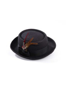 Black Pork Pie Hat with Feather for Adults