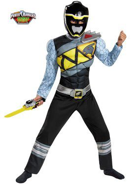 Black Power Ranger Dino Charge Classic Muscle Boy's Costume