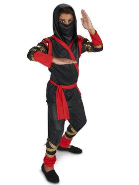 Black Red Ninja Costume For Children