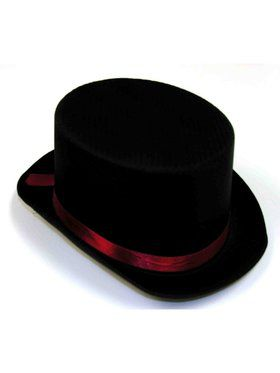 Black Satin Top Hat With Red Band Accessory