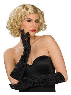 Black Satin Wrinkled Lycra Elbow Gloves