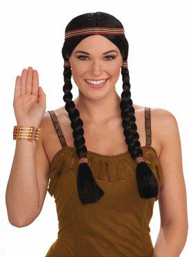 Black Squaw Adult Wig