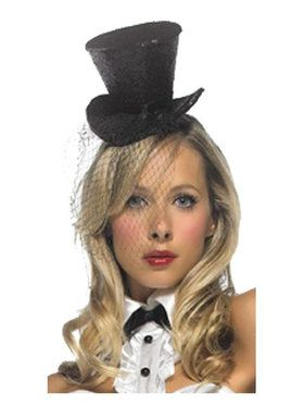 Black Tiny Top Hat with Veil