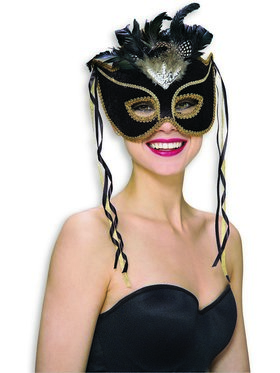 Black Adult Venetian Mask