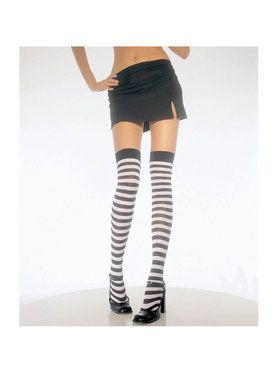 Thigh High Tights with Black and White Stripes