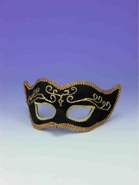 Black and Gold Trim Half Mask Accessory