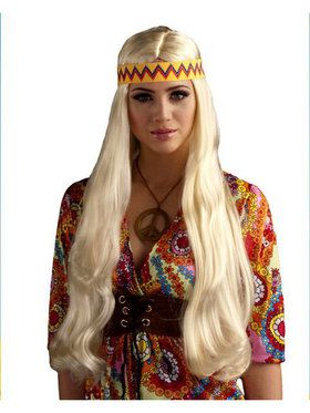 Blonde Unisex Hippie Wig w/detachable Headband Adult