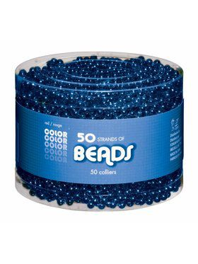 Shiny Blue Bead Necklaces-50 pack