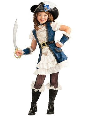 Blue Pirate Girl Costume For Children