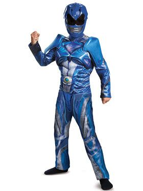 Blue Power Ranger Classic Muscle Costume For Children