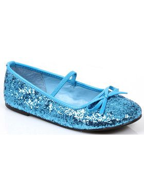 Blue Sequin Girls Ballet Flats