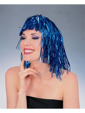 Blue Tinsel Adult Wig
