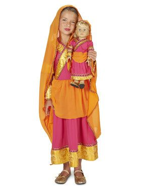 """Bollywood Girl Child Costume M (8-10) with Matching 18"""" Doll Costume"""