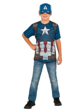 Boy's Captain America Kid's Costume Top