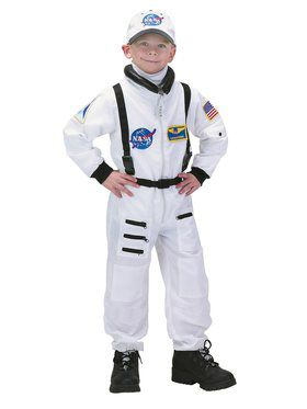 Boys Deluxe White Nasa Junior Astronaut Suit Costume
