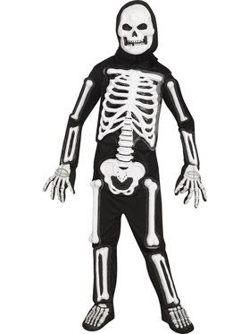 Boys Light Up LED Bony Skeleton Costume