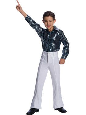 Childrens White Disco Pants Costume