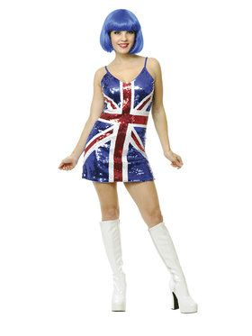 British Flag Sequin Dress Costume