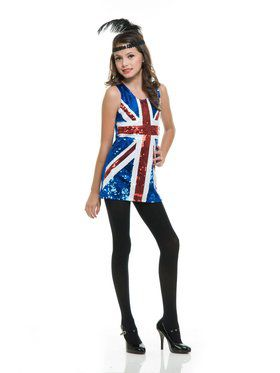 Girl's Union Jack Sequin Dress