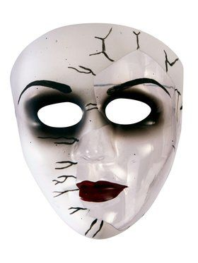 Broken Doll Face Transparent Mask for Adults