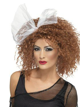 Brown 1980's Wild Child Wig with Bow For Women