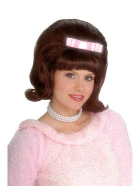 Brown 50s Bouffant Adult Wig