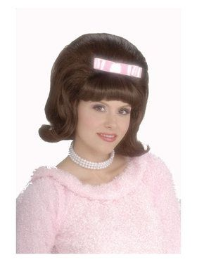 Brown 50's Bouffant Wig Adult