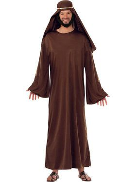 Brown Biblical Robe with Headdress Men's Costume