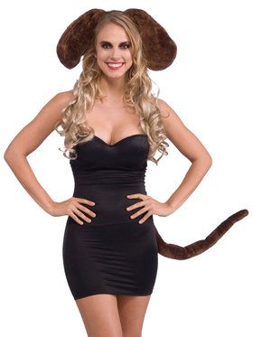 Brown Dog Ears And Tail Accessory Set