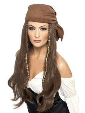 Brown Pirate Wig with Bandana For Women