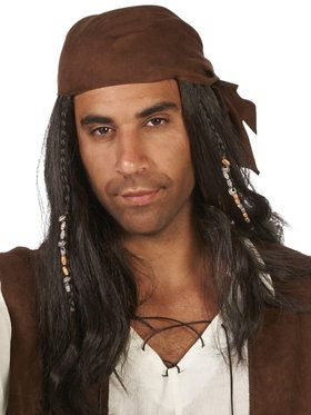 Brown Pirate with Beads Wig For Adults