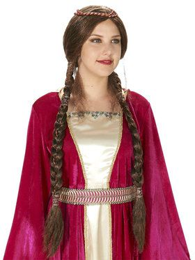 Brown Renaissance Braid Wig For Adults
