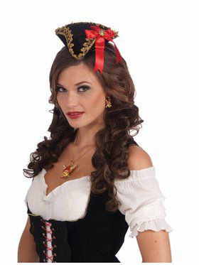 Buccaneer Beauty Adult Mini Hat Red Bow