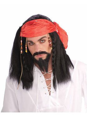 Buccaneer Pirate Wig with Beaded Bandana Adult