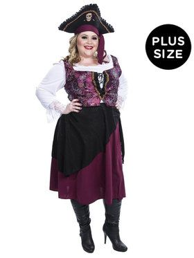 Burgundy Pirate Wench Costume For Adults