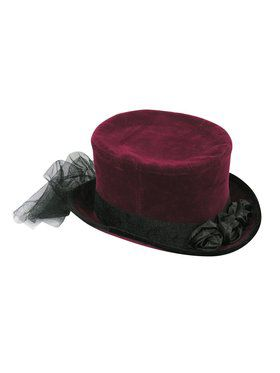 Burgundy Top Hat with Lace for Adults