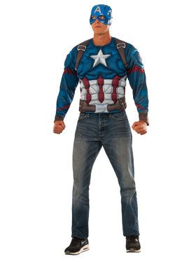 Captain America Civil War Muscle Chest Captain America Long Sleeve Top Men's Costume