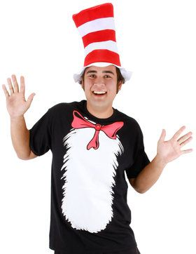 Cat in the Hat Adult T-Shirt and Hat Costume