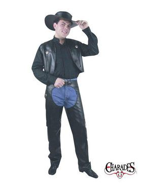 Chaps and Vest Man Leather Adult Costume