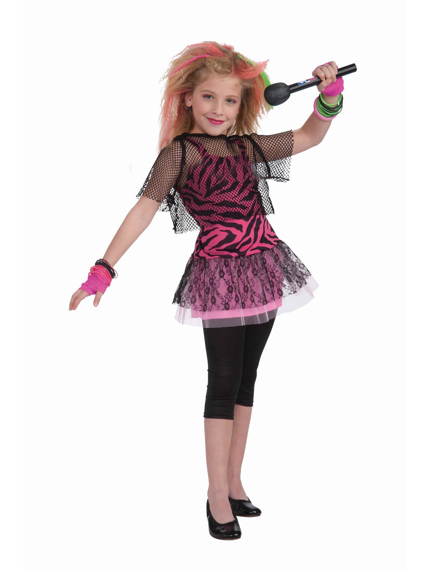 Child 80u0027s Punk Rock Star Girl Costume  sc 1 st  Wholesale Halloween Costumes : girl rockstar costumes  - Germanpascual.Com