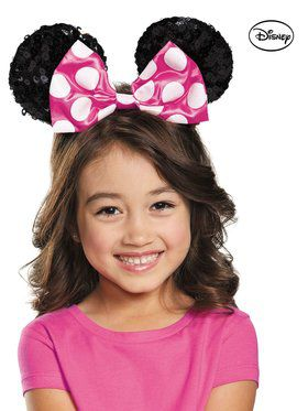 Child Pink Minnie Sequin Ears