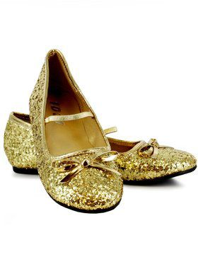 Childrens Gold Glitter Ballet Flats